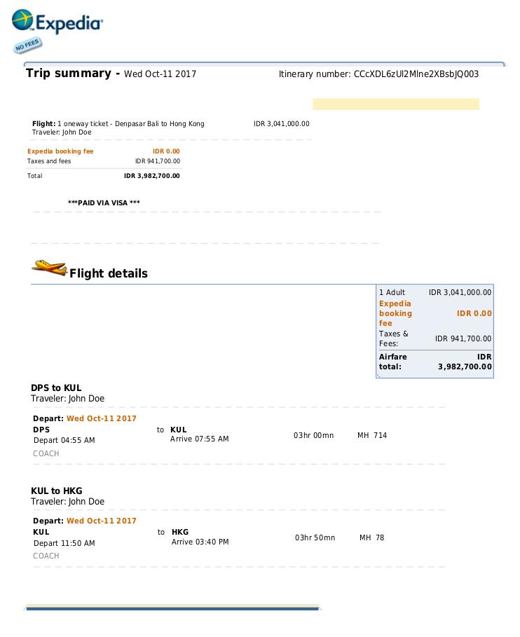 Return Flight Onward Travel